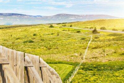 Obwód ogrodzenia na wzgórzu w okolicy w pobliżu drogi. Jaskrawy wiejski krajobraz z polem żółci kwiaty i góra na tle w ciepłym letnim dniu
