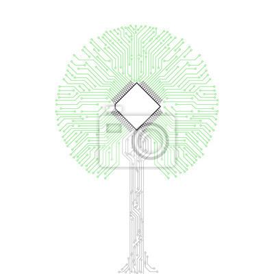 Plakat obwodami drzewa w tle