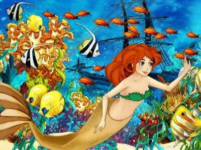 Plakat Ocean i syreny - ilustracji