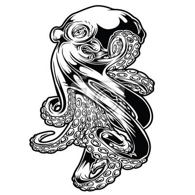 Plakat Octopus Sea  Drawing Black  Vector