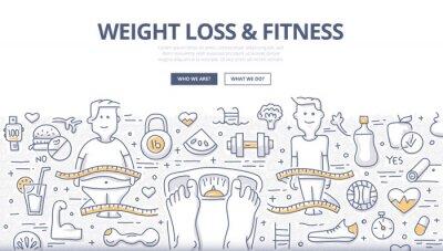 Plakat Odchudzanie i fitness Doodle Concept