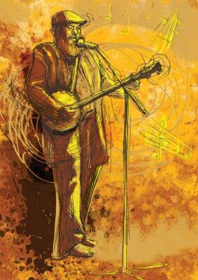 Plakat Odtwarzacz banjo (rysunek do wektora)