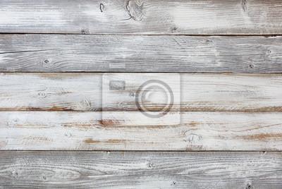 Plakat Odtworzone wyblakły, biało malowane deski
