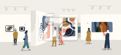 Plakat Odwiedzający wystawę oglądający nowoczesne obrazy abstrakcyjne w galerii sztuki współczesnej. Ludzie o dziełach twórczych lub eksponatach w muzeum. Ilustracja wektorowa kolorowy w stylu cartoon płaski