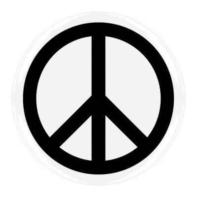 Plakat Odznaka Peace Symbol - Flaga Buttona Peace wyizolowanych White