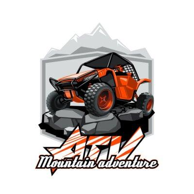 Plakat Off-Road ATV Buggy Logo, górska przygoda.