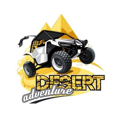 Plakat Off-Road ATV Buggy Logo, pustynna przygoda.