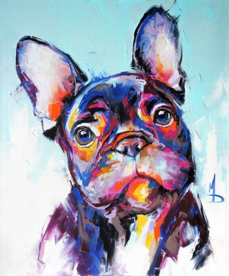 Plakat Oil dog portrait painting in multicolored tones. Conceptual abstract painting of a french bulldog muzzle. Closeup of a painting by oil and palette knife on canvas.