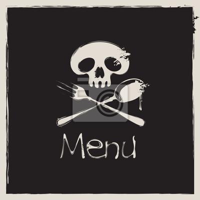 Plakat Okładka na menu z ludzkiej czaszki z łyżką i widelcem