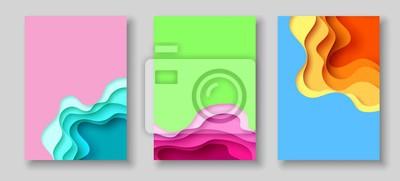 Plakat Okładki lub ulotki szablon z streszczenie papieru wyciąć niebieski zielony różowy żółty tło. Szablon wektor w stylu sztuki rzeźbienia