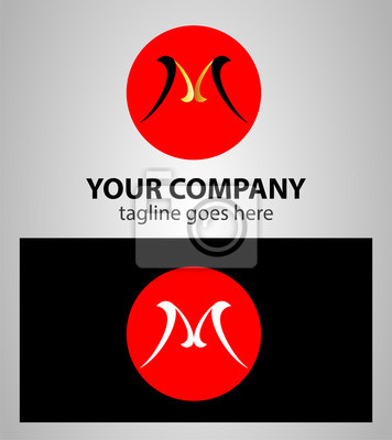 Plakat Okrągłe Logo Z Literą M Na Wymiar Czerwony Nowoczesny