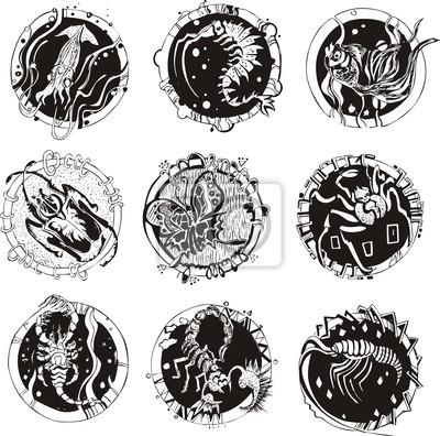 Okrągłe Tatuaże Ze Zwierzętami Plakaty Redro