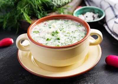 Okroshka. Cold summer soup with yogurt and vegetables in bowl.