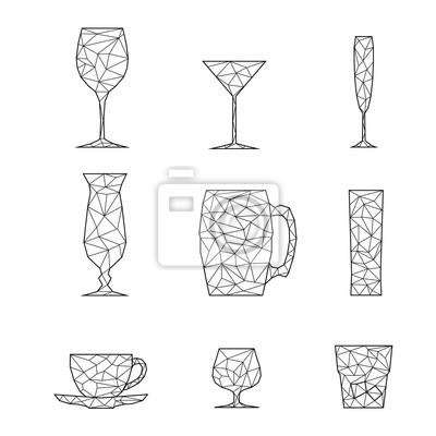 Okulary zestaw ikon stylizowany trójkąt wieloboczny modelu