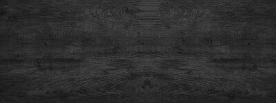 Plakat old black grey rustic dark wooden texture - wood background panorama long banner