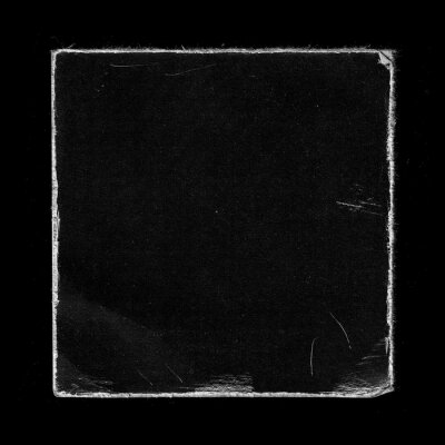 Plakat Old Black Square Vinyl CD Record Cover Package Envelope Template Mock Up. Empty Damaged Grunge Aged Photo Scratched Shabby Paper Cardboard Overlay Texture.