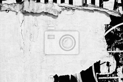 Plakat Old blank white grunge ripped torn posters  crumpled paper background wall empty space for text