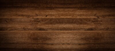 Plakat Old brown rustic dark grunge wooden timber texture - wood background banner.