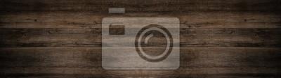 Plakat old brown rustic dark wooden texture - wood background panorama long banner
