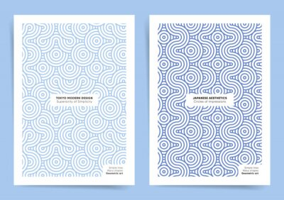 Plakat Old fashioned geometric posters set. blue retro wavy design posters for brochure, book covers and home decoration backgrounds. East style geometric simple backdrops.