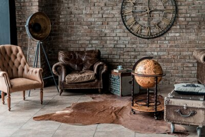 Plakat old fashioned interior with antique furniture and decoration