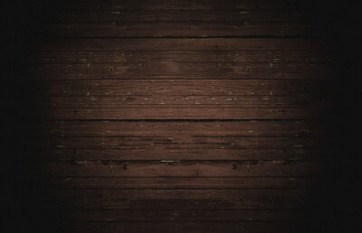 Plakat Old horizontal wooden shabby dark brown background or texture, part of rustic fence or walls of house