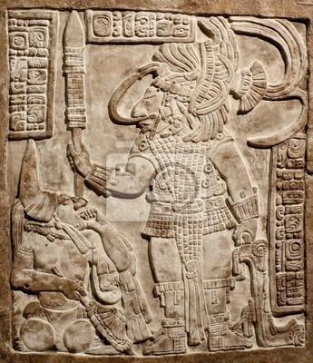 Plakat Old mexican relief wyrzeźbiony w kamieniu