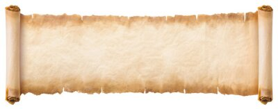 Plakat old parchment paper scroll sheet vintage aged or texture isolated on white background