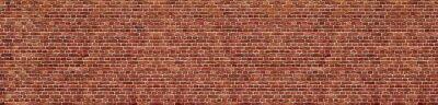 Plakat Old red brick wall background, wide panorama of masonry