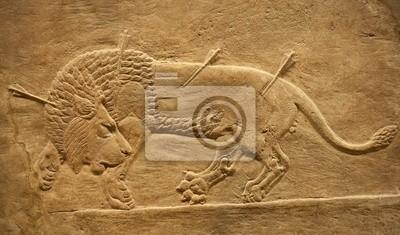Plakat Old relief asyryjski lwa Beig polować