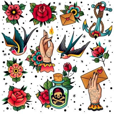 Plakat Old school traditional tattoo set