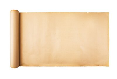 Plakat Old stressed paper scroll on white background isolated. Horizontal background, empty space, room for text, copy, lettering, map.