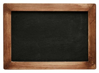 Plakat Old vintage chalkboard with worn wooden frame. Blank empty blackboard with space for text.