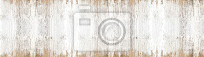 Plakat old white painted exfoliate rustic bright light wooden texture - wood background banner panorama long shabby
