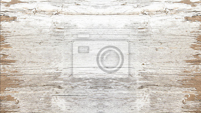 Plakat old white painted exfoliate rustic bright light wooden texture - wood background shabby