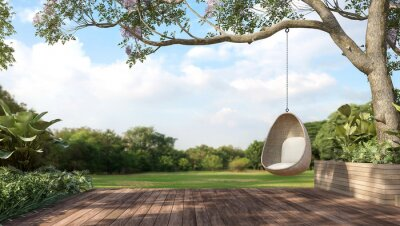 Plakat Old wooden terrace with wicker swing hang on the tree with blurry nature background 3d render.