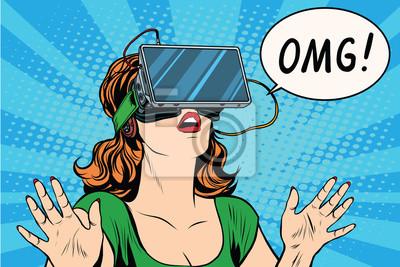 Plakat OMG emocje z wirtualnej rzeczywistości retro dziewczyna