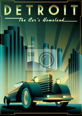 Plakat Once upon a time in night in Detroit, USA. Handmade drawing vector illustration. Retro poster. Art Deco style.
