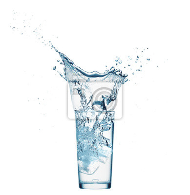 Plakat one glass of water with splash from falling ice cube, white background, isolated object