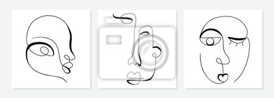 Plakat One line drawing abstract face. Modern single line art man and woman portrait, minimalist contour. Great for home decor such as posters, wall art, tote bag, t-shirt print, sticker, mobile case. Vector