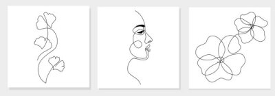 Plakat One line drawing abstract woman face, ginkgo biloba leaf, flower. Modern single line art, female portrait, aesthetic contour. Great for poster, wall art, tote bag, t-shirt print, sticker, logo. Vector