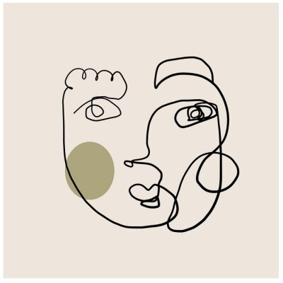 Plakat One line drawing. Continuous single line art. Minimalism portrait in abstract creative style.