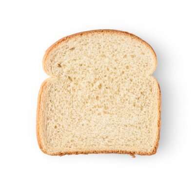 Plakat One slice of bread isolated on white background.