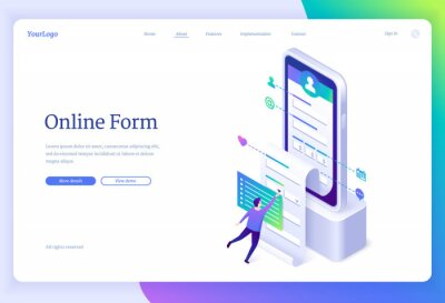 Plakat Online form banner. Web application for registration account, digital survey. Vector landing page with isometric illustration of person fills profile information in mobile app on smartphone