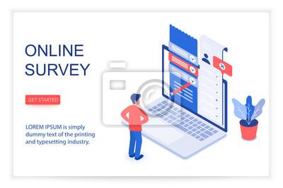 Plakat Online survey isometric landing page vector template