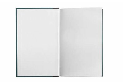Plakat Opened blank white book pages isolated over white