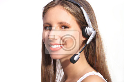 5242c6d2a99011 operatora telefonicznego biura, uśmiechnięta kobieta ze słuchawkami