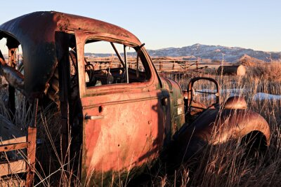 Plakat opuszczony samochód w polu