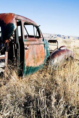 Plakat opuszczony samochód wiejskich Wyoming