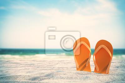 Plakat Orange flip flops on beach